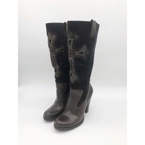 MIA Studded Cross Leather and Suede Tall Boot